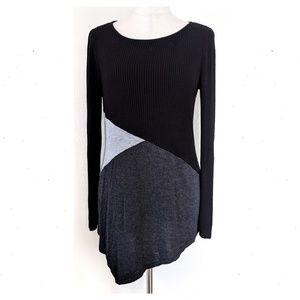 DRESSBARN Colorblock Asymmetric Ribbed Sweater Top